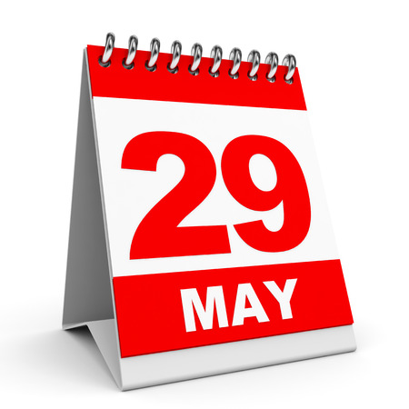 20 29: Calendar on white background. 29 May. 3D illustration. Stock Photo