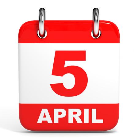 Calendar on white background. 5 April. 3D illustration.
