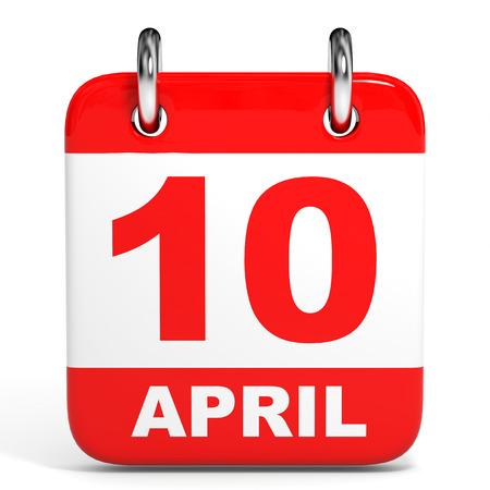 tenth: Calendar on white background. 10 April. 3D illustration.