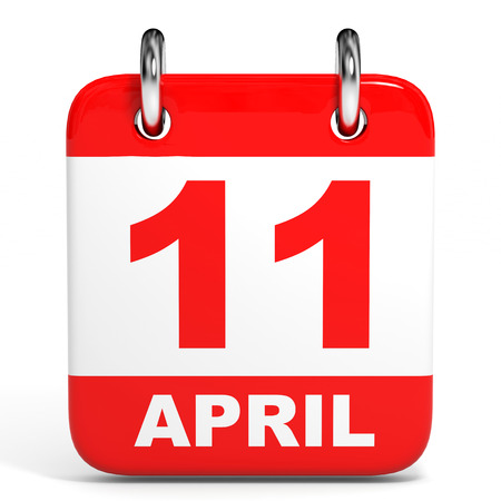 number 11: Calendar on white background. 11 April. 3D illustration. Stock Photo