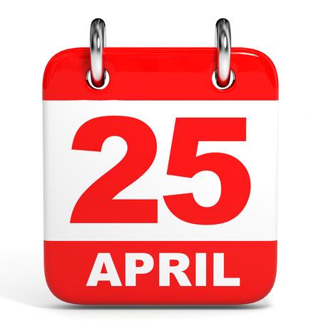 twenty fifth: Calendar on white background. 25 April. 3D illustration. Stock Photo
