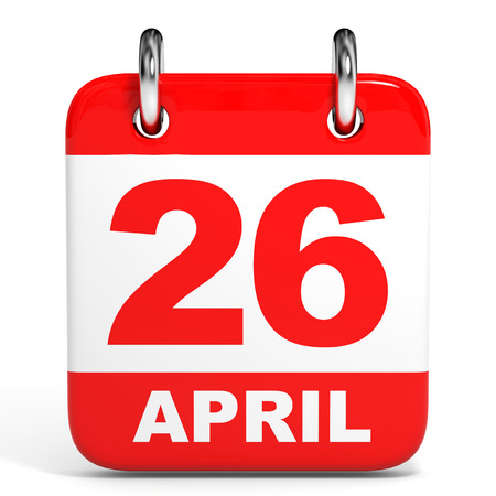 26th: Calendar on white background. 26 April. 3D illustration.