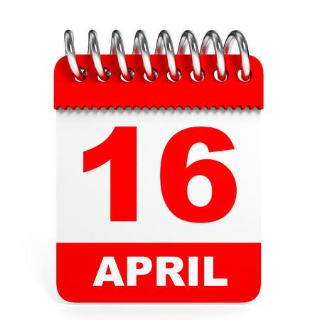 16 9: Calendar on white background. 16 April. 3D illustration. Stock Photo