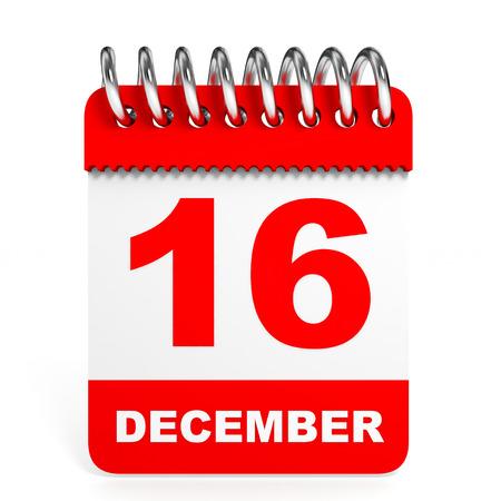 16 9: Calendar on white background. 16 December. 3D illustration. Stock Photo