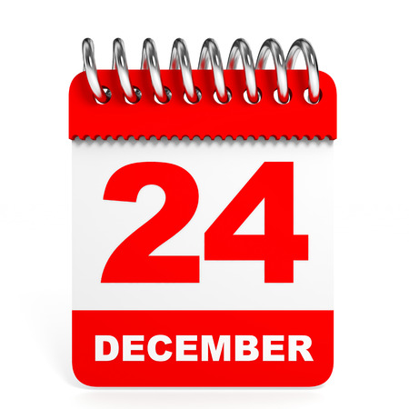Calendar on white background. 24 December. 3D illustration. illustration