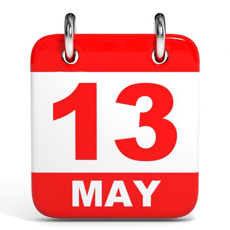 Calendar on white background. 13 May. 3D illustration.