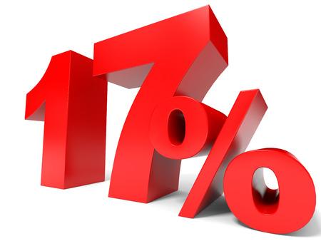 seventeen: Red seventeen percent off. Discount 17%. 3D illustration. Stock Photo