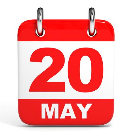 twentieth: Calendar on white background. 20 May. 3D illustration.