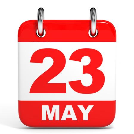 23: Calendar on white background. 23 May. 3D illustration.