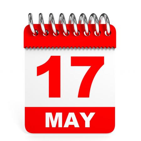 seventeenth: Calendar on white background. 17 May. 3D illustration.