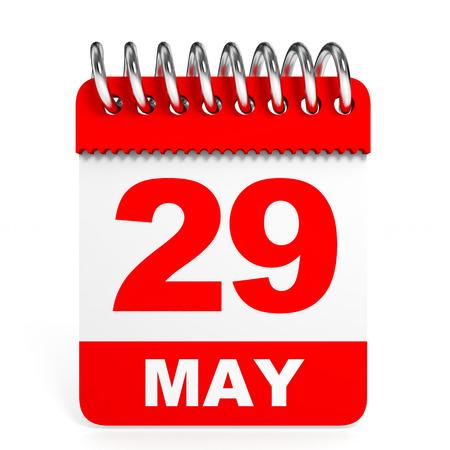twenty ninth: Calendar on white background. 29 May. 3D illustration. Stock Photo