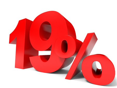 19: Red nineteen percent off. Discount 19%. 3D illustration. Stock Photo