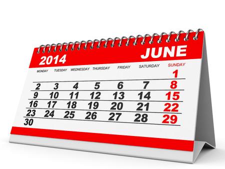 Calendar June 2014 on white background. 3D illustration. illustration