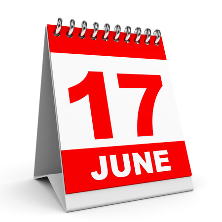 Calendar on white background. 17 June. 3D illustration. illustration