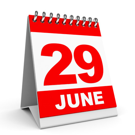ninth: Calendar on white background. 29 June. 3D illustration. Stock Photo