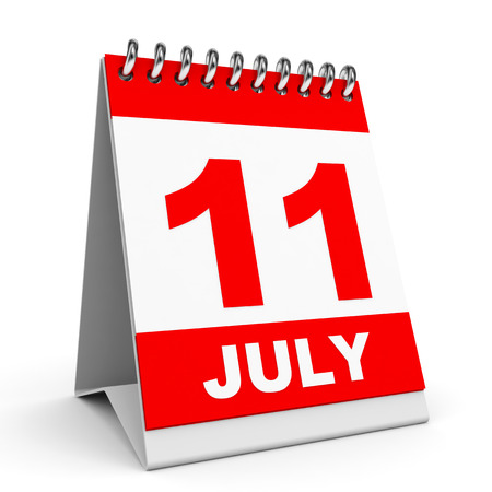 Calendar on white background. 11 July. 3D illustration. illustration
