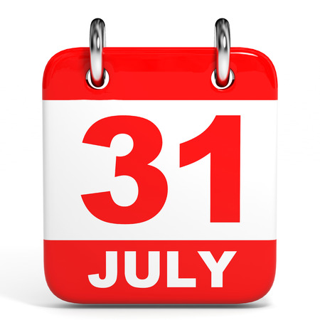 31th: Calendar on white background. 31 July. 3D illustration.