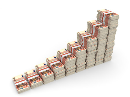 Money stacks graph. Fifty euro. 3D illustration. illustration