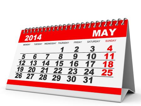 Calendar May 2014 on white background. 3D illustration. illustration
