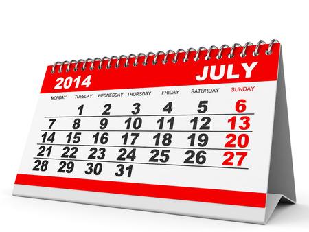 Calendar July 2014 on white background. 3D illustration. illustration