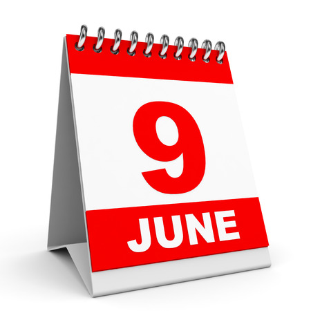 Calendar on white background.  9 June. 3D illustration. illustration
