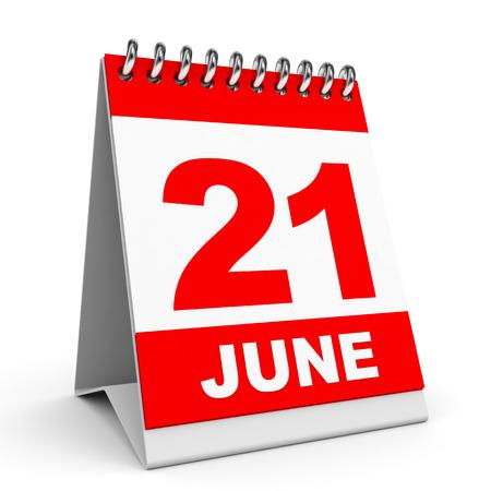 Kalender auf weißem Hintergrund. 21. Juni. 3D-Darstellung. Standard-Bild - 29626814