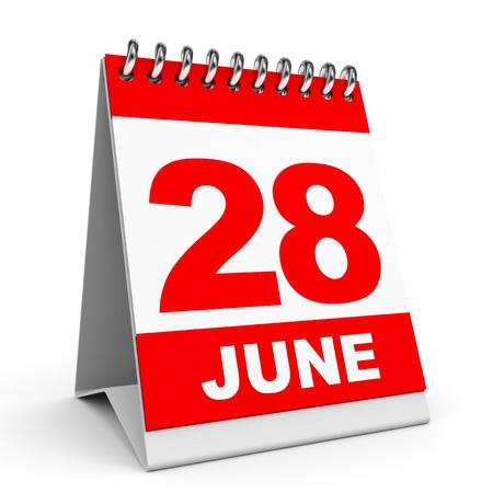 Calendar on white background. 28 June. 3D illustration.