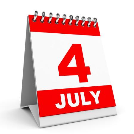 Calendar on white background. 4 July. 3D illustration. illustration