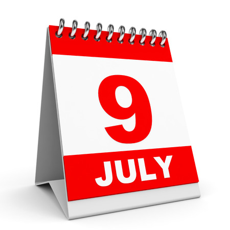 9th: Calendar on white background. 9 July. 3D illustration.
