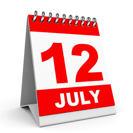 Calendar on white background. 12 July. 3D illustration. illustration