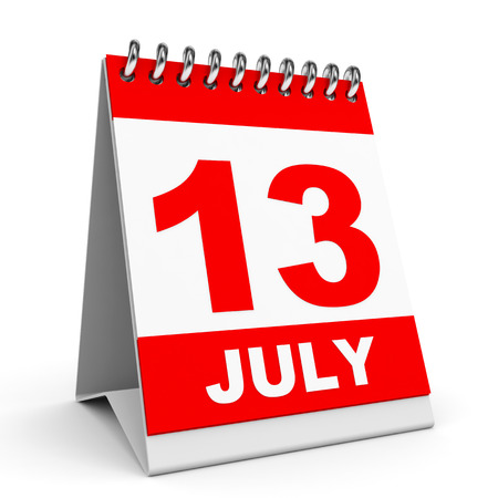 Calendar on white background. 13 July. 3D illustration. illustration
