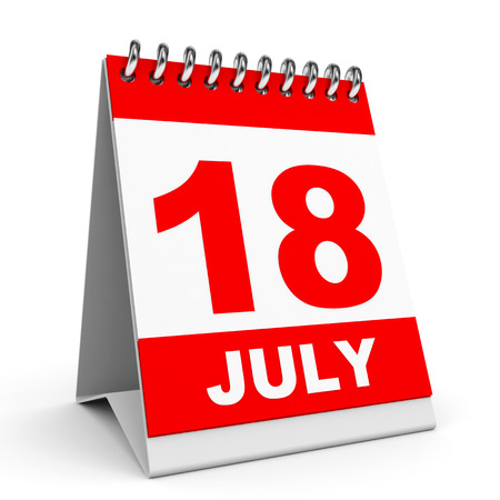 18th: Calendar on white background. 18 July. 3D illustration. Stock Photo