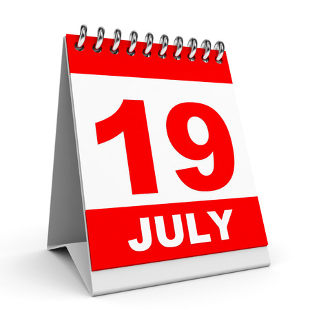 Calendar on white background. 19 July. 3D illustration. illustration