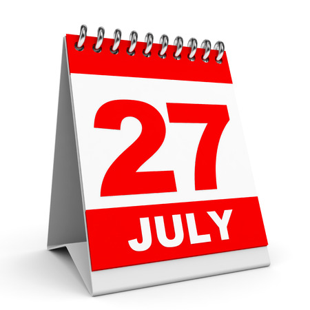 Calendar on white background. 27 July. 3D illustration. illustration