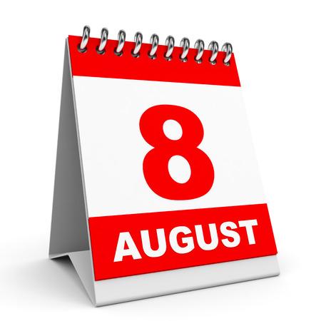 Calendar on white background.  8 August. 3D illustration. Stock Photo