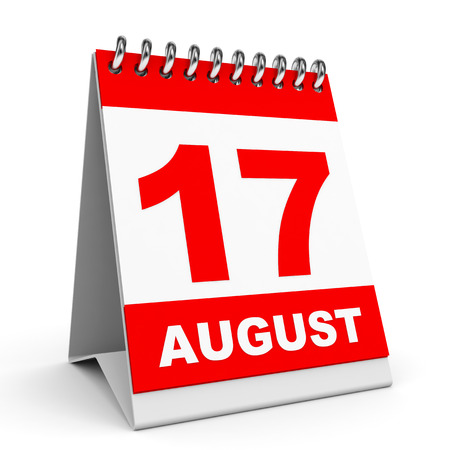 seventeenth: Calendar on white background. 17 August. 3D illustration. Stock Photo
