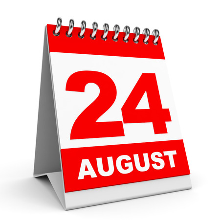 Calendar on white background. 24 August. 3D illustration. illustration