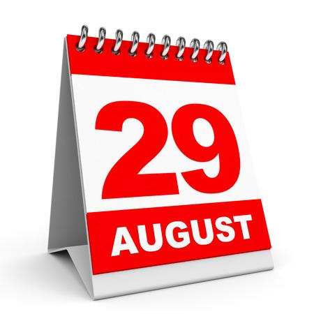 twenty ninth: Calendar on white background. 29 August. 3D illustration.