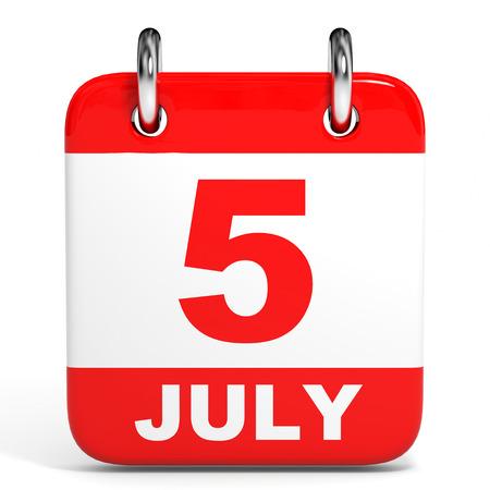 calendar page: Calendar on white background. 5 July. 3D illustration.