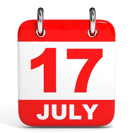 seventeenth: Calendar on white background. 17 July. 3D illustration.