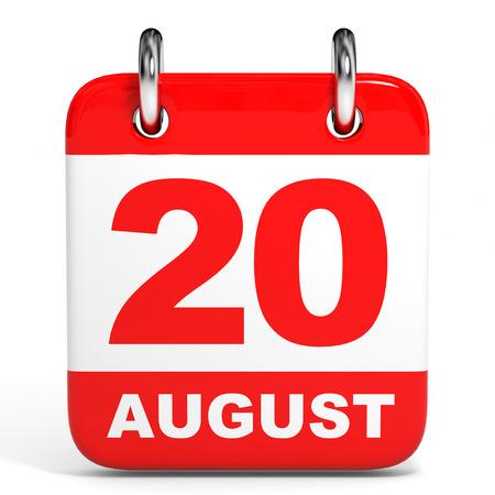 twentieth: Calendar on white background. 20 August. 3D illustration.