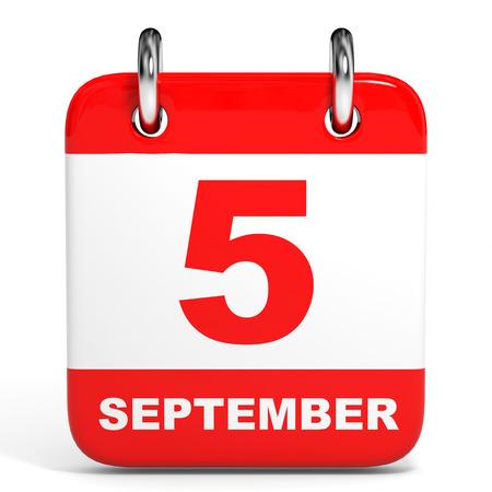 Calendar on white background. 5 September. 3D illustration. Stock Photo