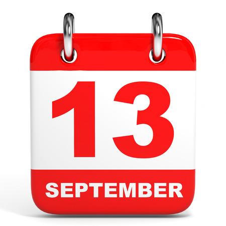 13th: Calendar on white background. 13 September. 3D illustration.