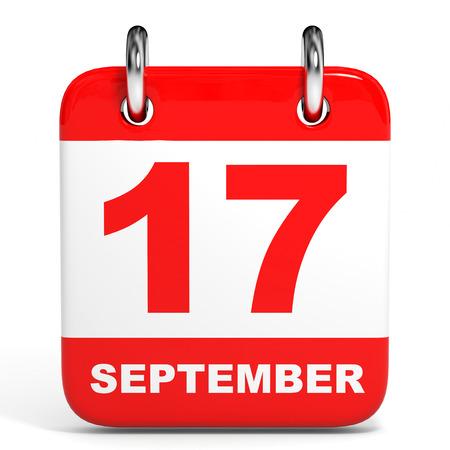 seventeenth: Calendar on white background. 17 September. 3D illustration.