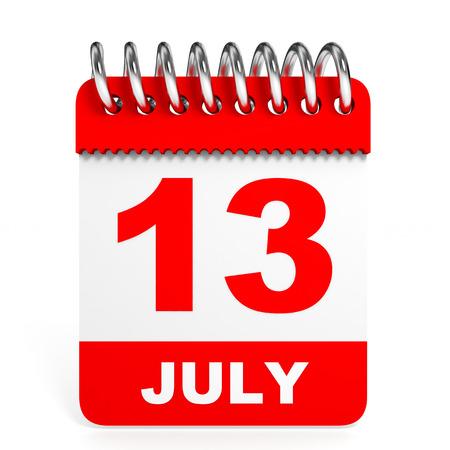 friday 13: Calendar on white background. 13 July. 3D illustration. Stock Photo