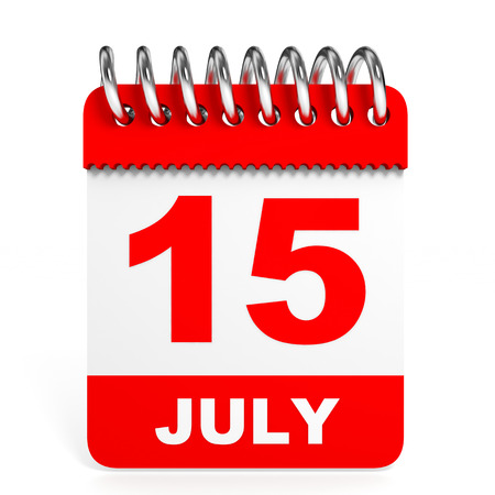 fifteen: Calendar on white background. 15 July. 3D illustration.