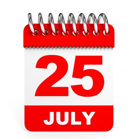 twenty fifth: Calendar on white background. 25 July. 3D illustration.