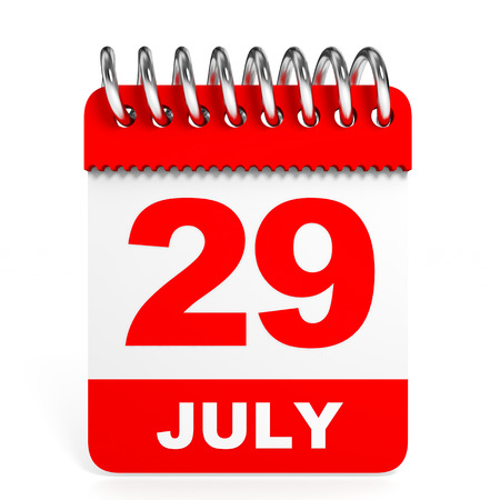 twenty ninth: Calendar on white background. 29 July. 3D illustration.