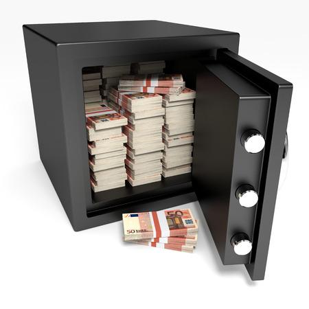 Safe and money. 3D illustration. Standard-Bild