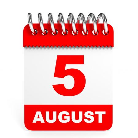 Calendar on white background. 5 August. 3D illustration.